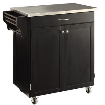 New Century® Black W/ Stainless Steel Top & Cabinet, Mobile Kitchen Island Cart