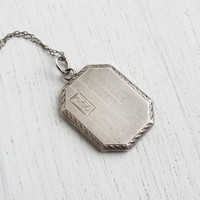 Antique Sterling Silver Locket Necklace - Art Deco 1920s Octagon Pendant Marked W&H Co / Embossed Lines