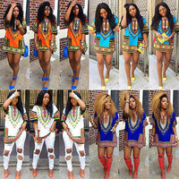 2015 Fashion Women Traditional African Print Dashiki Dress Short Sleeve Party Dress