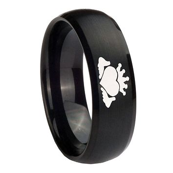 8MM Claddagh Design Satin Black Dome Tungsten Carbide Laser Engraved Ring