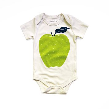 Apple Organic Baby Bodysuit in Natural