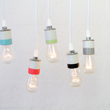 Hand-painted Porcelain Light Pendant(s) with Edison bulb