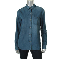 Adriano Goldschmied Womens Cotton Collared Denim Shirt