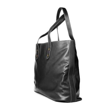 Authentic handmade in Italy leather tote shopping bag