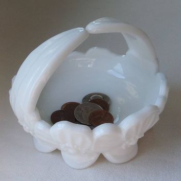 Westmoreland White Milk Glass Pretty Pansy Candy Dish / Bowl / Basket with Vintage 1960's Split Handle, Footed Jewelry or Trinket Dish