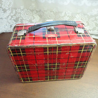 Red Plaid Lunch Pail