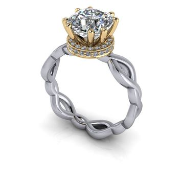 Free Center Stone! Diamond Collar Engagement Ring Setting - Cushion Cut Moissanite Ring