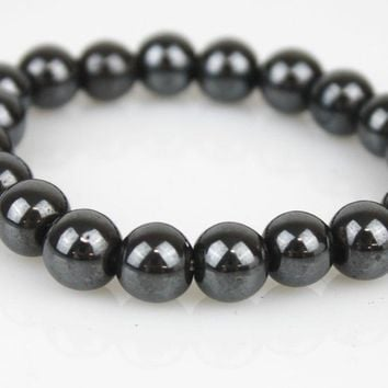 Mens Womens Magnetic Hematite Round Ball Beads Stretch Elastic Bracelet
