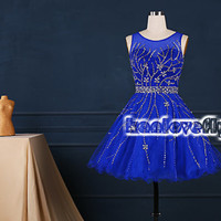 royal blue short beading top homecoming dress,2015 short prom dresses,mini dress,short party dress gowns,cocktail dress,cute sweet16 dress