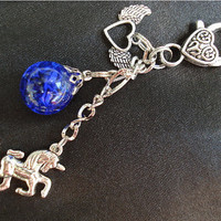 Unicorn Fried Marble Winged Heart Charm Blue Keychain