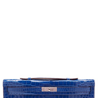 Shiny Mykonos Porosus Crocodile Kelly Cut Clutch by Heritage Auctions Special Collections for Preorder on Moda Operandi