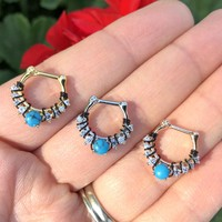 Turquoise Clicker Daith Hoop Ring Rook Hoop Cartilage Helix