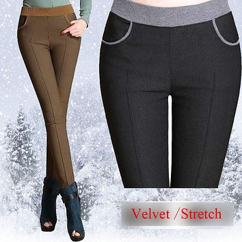 {Guoran} winter women warm pants Plus size 4XL thick fleece ladies pencil pants Black Khaiki elastic waist Velvet Trousers 2017
