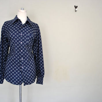 Navy Blue and White Button Up Blouse / Nautical Knot Work Chic Shirt / Ladies Large Vintage Blouse
