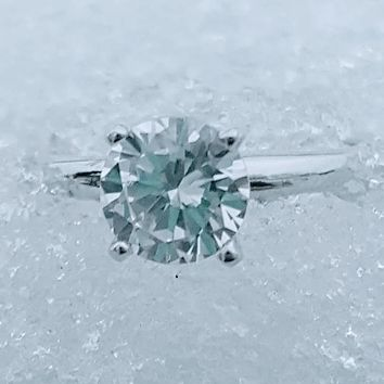 .925 Sterling Silver 1 Carat Solitaire Engagement Ring Ladies Bridal Size 4-10