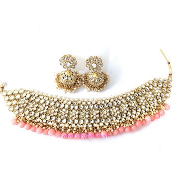 Bold peach bead with kundan collar Necklace and jhumka earring set