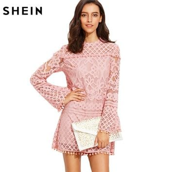 Woman Straight Dresses Ladies Pink Crochet Pom-pom Trim Round Neck Long Sleeve Casual Fall Dress