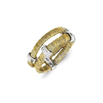 Sterling Silver & Vermeil Wire Wrapped CZ Double Ring