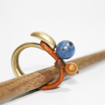 sodalite ring, leather ring, stone ring, blue stone ring