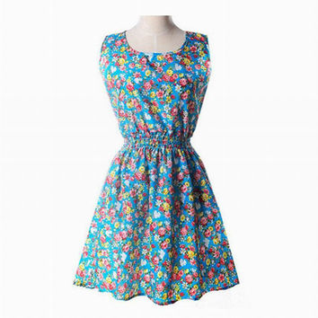 2016 Country Flower Floral Print Women Summer Dress