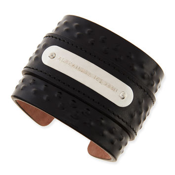 Men's Covered-Stud Leather Cuff - Alexander McQueen