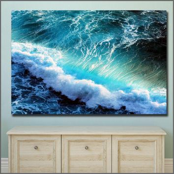 Large Size Printing Wall Pictures Oil Painting Sea Waves Ocean Wall Art Canvas Print Pictures for Living Room and Bedroom