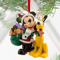 Disney Santa Mickey Mouse and Pluto Ornament | Disney Store