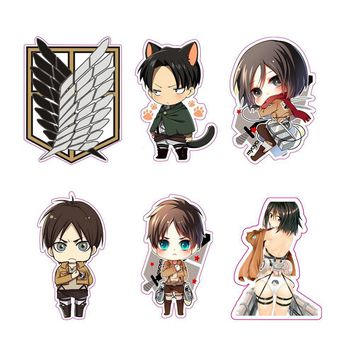 Cool Attack on Titan 6pcs  Stickers no  Reusable Waterproof Bike/Luggage/Motor/Car/Refrigerator/Skateboard Stickers AT_90_11