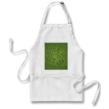 Green Paisley Seamless Background Graphic Art Aprons from Zazzle.com