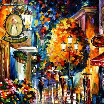 CAFE IN THE OLD CITY — PALETTE KNIFE Oil Painting On Canvas By Leonid Afremov studio / Afremov Art auction Paintings By Leonid Afremov.