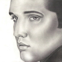 Unframed Original Elvis Presley Pencil Drawing