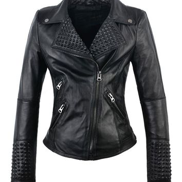 Faux Leather Studded Moto Jacket | Attitude Clothing