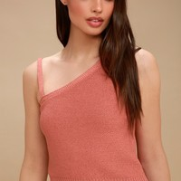 Esmeralda Rusty Rose One-Shoulder Cropped Sweater Top