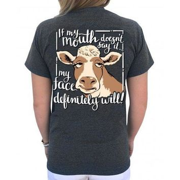 Southern Attitude Preppy Cow If My Mouth Doesn't Say It T-Shirt