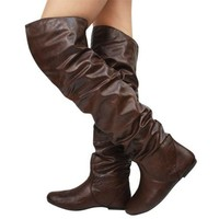 New Nature Breeze Vickie-HI Slouchy Thigh High Boot BROWN