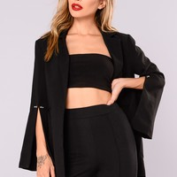Business Chic Over Sized Blazer - Black
