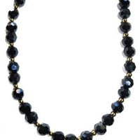Navy blue Czech crystal Love and Peace necklace