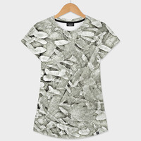 «Olive Silver Tips Abstract», Numbered Edition Women's All Over T-Shirt by GittaG74 - From $39 - Curioos
