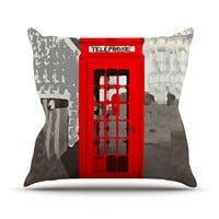 "Oriana Cordero ""London"" Red Gray Throw Pillow"