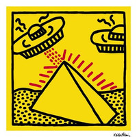 Untitled, 1984 (pyramid with UFOs) Poster Print by Keith Haring
