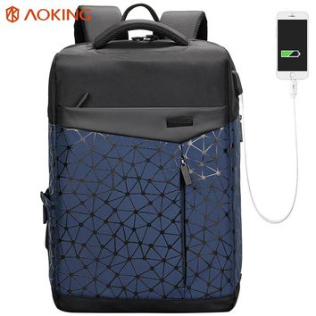 Aoking Waterproof Men Backpack with Anti thief Pocket USB Charging College Students Bag Laptop Backpack Urban Fashion school bag