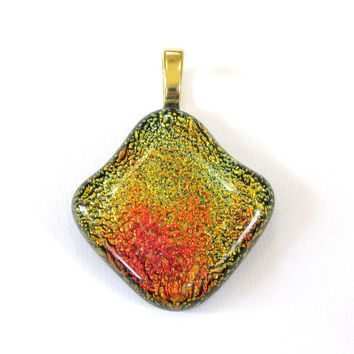 Dichroic Fused Glass Pendant Slide. Large Gold Bail - One of a Kind Pendant - Margarita by mysassyglass