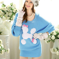 NWT lady Sweet Poodles dog loose bat sleeve casual winter sweater top SKY BLUE