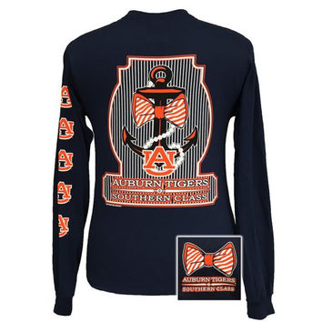 Auburn Tigers War Eagle Classy Anchor Pearls Bow Long Sleeve T Shirt