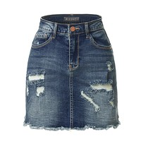 Casual Vintage Ripped Frayed Denim Skirt with Pockets
