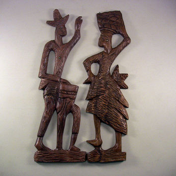 "SOLD!  Vintage Pr 23"" Mid-Century Wooden Calypso Dancer Music Wall Plaques"