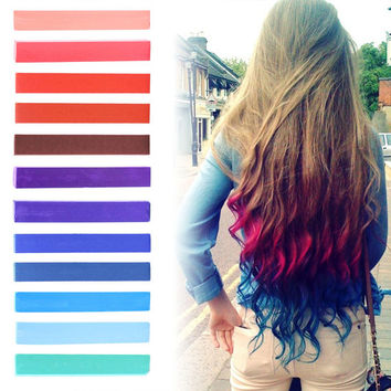 INDEPENDENCE | Raspberry, Red, Purple and shades of Blue Pastel Ombre Hair Chalk temporary hair color set of 12