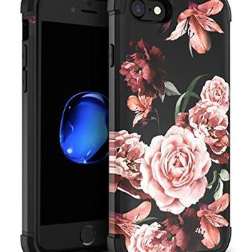 SSSCase iPhone 7 Case,iPhone 8 Case [Slim Fit] Dual Layer Hybrid Hard Plastic + TPU Sturdy Cover High Impact Resistant Protective Case for Apple iPhone 7 /iPhone 8,Flower Black