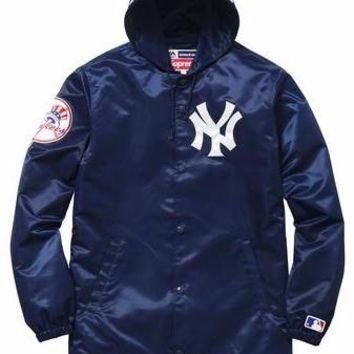 Supreme Yankee Satin Hooded Jacket - Navy