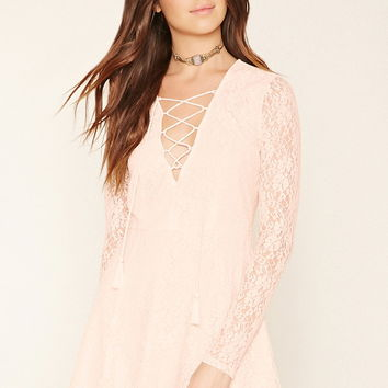 Lace-Up Floral Lace Dress